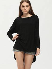 Black Round Neck High Low T-Shirt