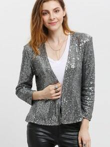 Grey Long Sleeve Sequined Jacket