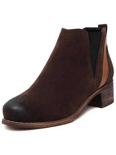 Black Chunky Heel Round Toe Vintage Boots