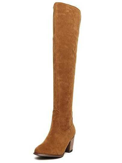 Brown Chunky Heel Zipper High Boots