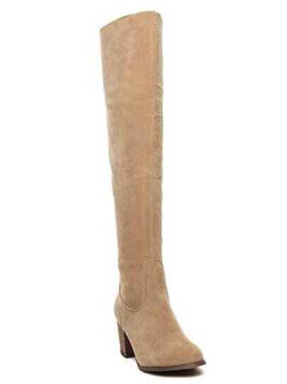 Apricot Chunky Heel Zipper High Boots