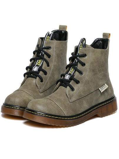 Army Green Vintage Thick-soled Round Toe Boots