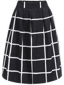 Elastic Waist Plaid Skirt