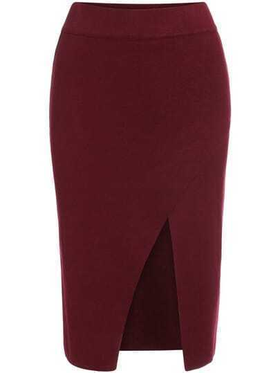 Slit Front Knit Red Skirt