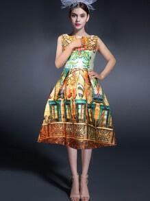 Sleeveless Vintage Print Great Flare Dress