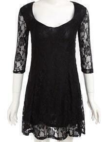 Lacy V Neck Lace Dress