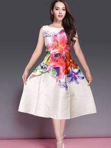 Sleeveless Lenght Bleaching Florals Flare White Dress