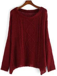 Red Round Neck Loose Sweater