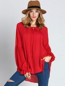 Red Long Sleeve Lace Up Blouse