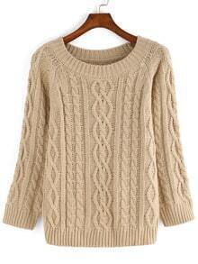 Apricot Long Sleeve Round Neck Sweater