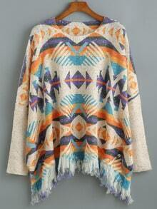 Multicolor Round Neck Tassel Sweater
