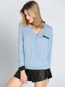 Blue Long Sleeve V Neck Blouse