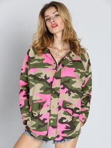 Pink Hooded Long Sleeve Camouflage Print Jacket
