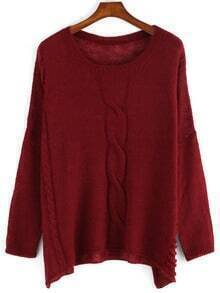 Red Long Sleeve Round Neck Sweater