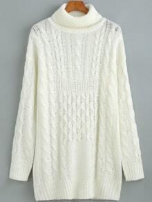 White Long Sleeve Turtleneck Sweater
