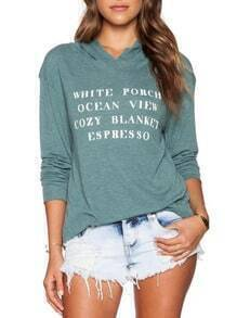 Green Hooded Letter Print Sweatshirt