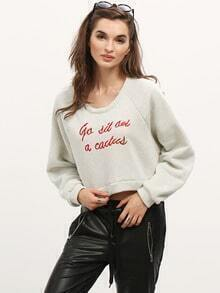 Grey Letter Embroidered Crop Sweatshirt