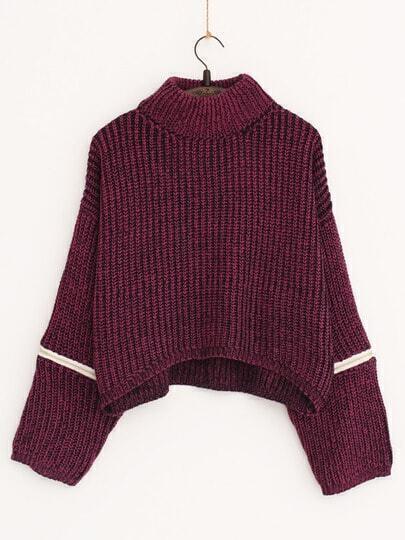 Purple Turtleneck Zipper Crop Sweater