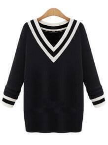 Black V Neck Striped Sweater