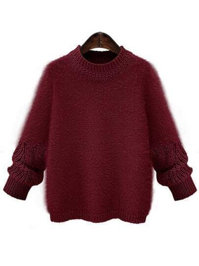 Wine Red Round Neck Mohair Sweater