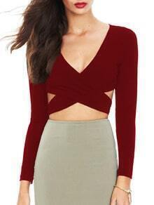 Wine Red Deep V Neck Cutout Blouse
