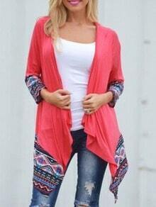 Red Long Sleeve Tribal Print Coat