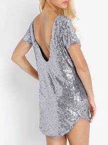 Silver Short Sleeve Sparkles Backless Glittering Sequined Dress