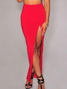 Red High Waist High-Slit Skirt
