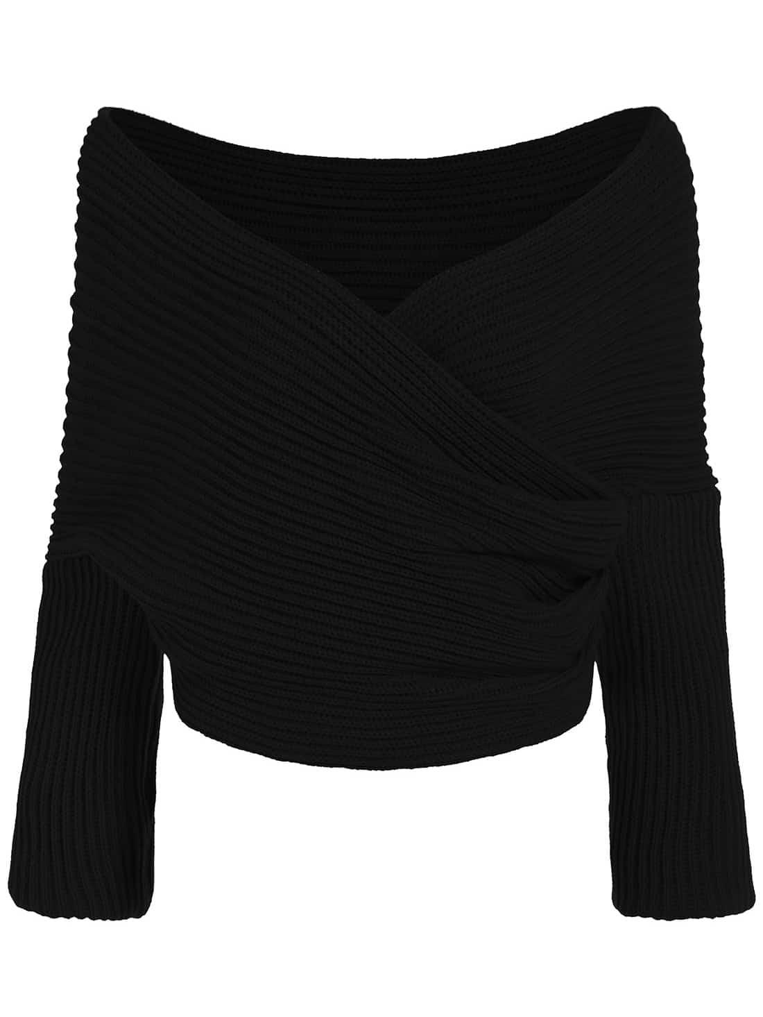 Black Off the Shoulder Crop Knit Sweater
