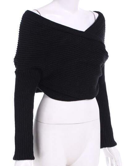 Black Off the Shoulder Crop Knit Sweater -SheIn(Sheinside)