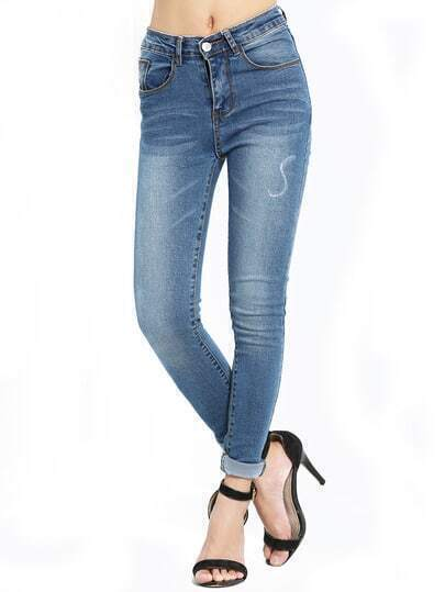 Blue Slim Bleached Denim Pant Stylish Cosy Curved Jeans