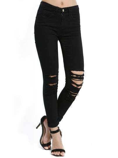 Black Slim Ripped Denim Pant Stylish Cosy Curved Jeans