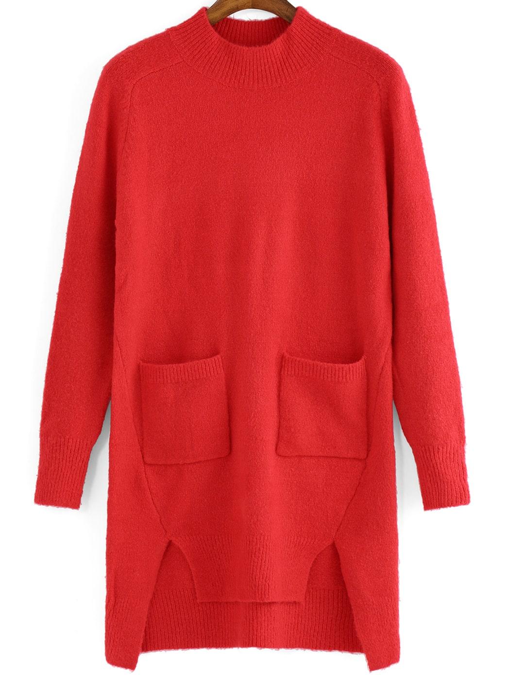 Red Crew Neck Pockets High Low Sweater Dress -SheIn(Sheinside)