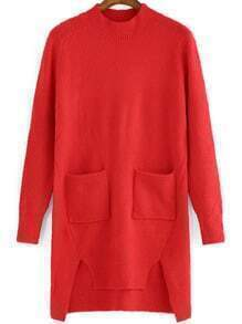 Red Crew Neck Pockets High Low Sweater Dress