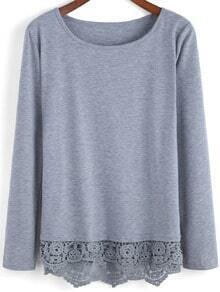 Grey Round Neck Peplum Hem T-Shirt