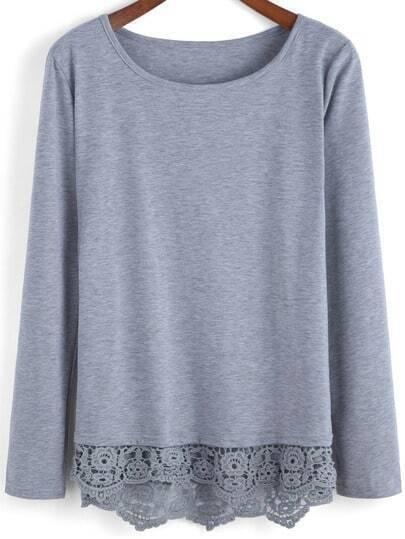 Grey Round Neck Peplum Hem T-Shirt