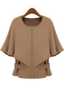 Camel Round Neck Zipper Cape Coat