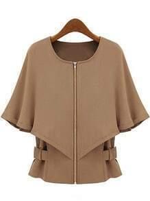Camel Round Neck Zipper Cape Coat