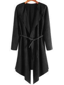 Drape Front Belt Suede Coat