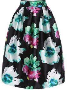 Florals Flare Zipper Green Skirt