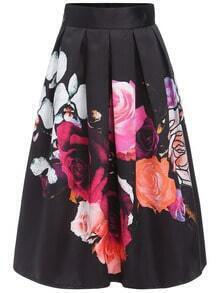Florals Flare Zipper Skirt