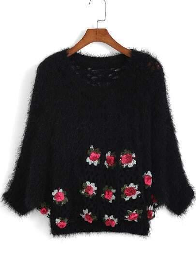 Open-Knit Crochet Fuzzy Black Sweater