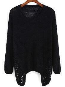 Long Sleeve Open-Knit Black Sweater