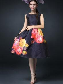 Sleeveless Florals Flare Painted Black Dress