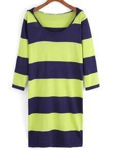 Hooded Striped Knit Dress