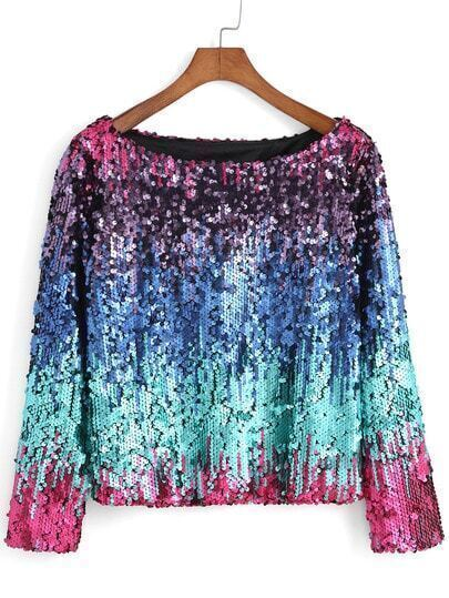 Boat Neck Ikat Neat Awesome Sequined Top