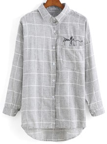 Lapel Dip Hem Plaid Checked Embroidered Grey Blouse