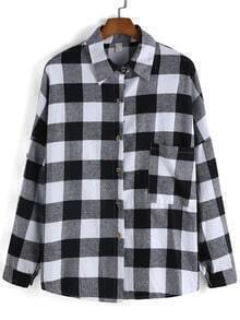 Lapel Long Sleeve Windowpane Plaid Blouse
