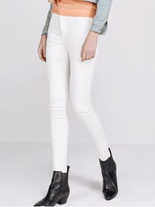 High Waist Slim Denim White Pant