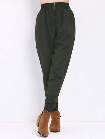 Elastic Waist Zipper Pant